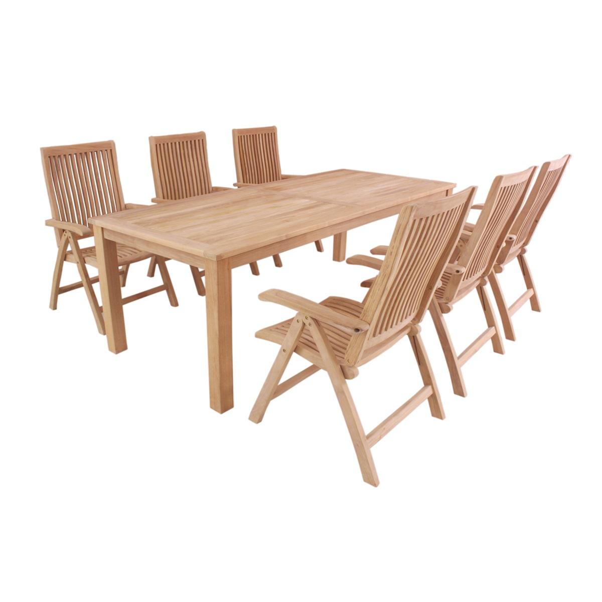 Garland Flores 6+, sestava nábytku z teaku (6x poloh. křeslo Aston, 1x stůl Oceana)