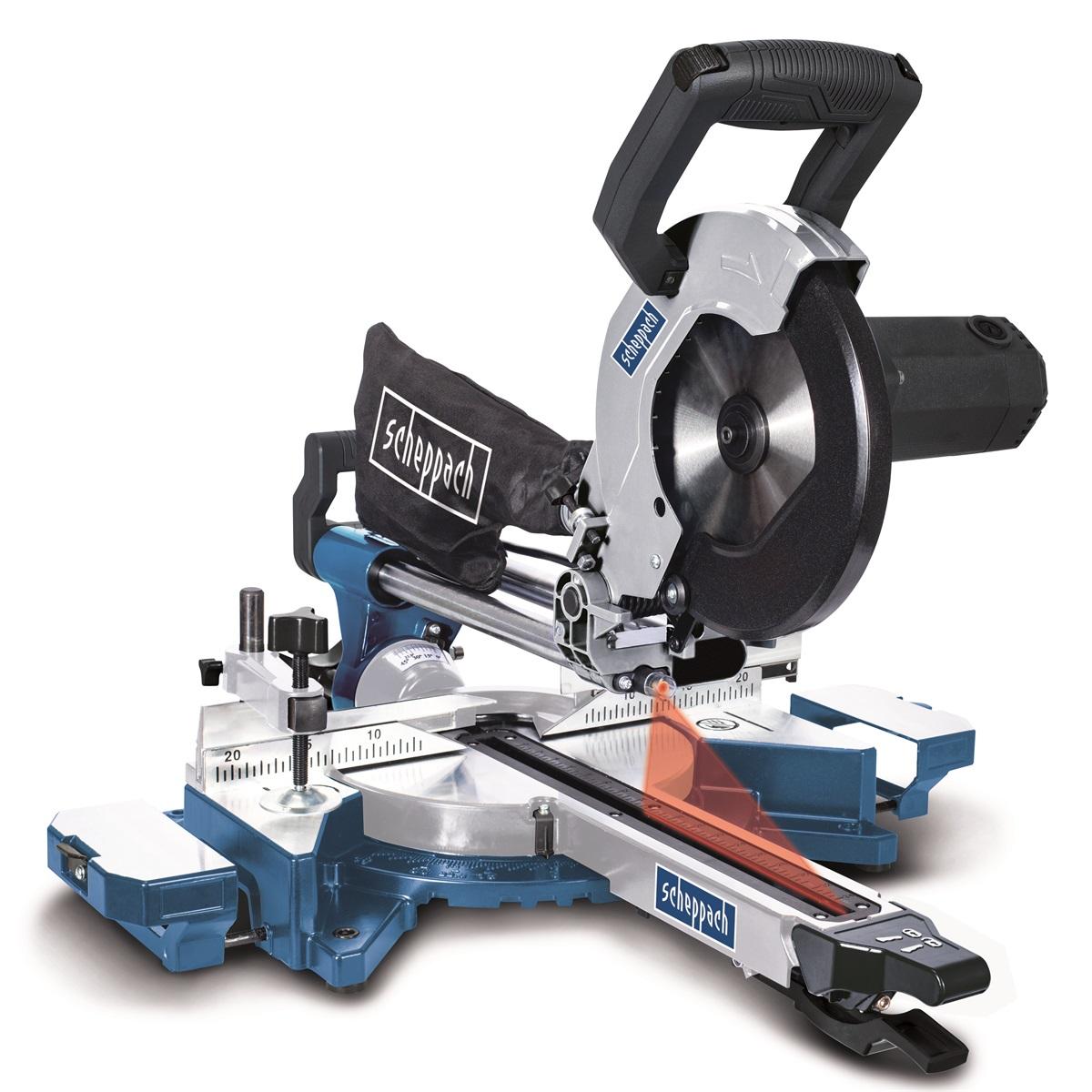 Scheppach HM 90 MP, dvourychlostní multifunkční pokosová pila s potahem, laserem a LED osvětlením